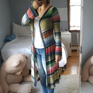Colorful knit long cardigan